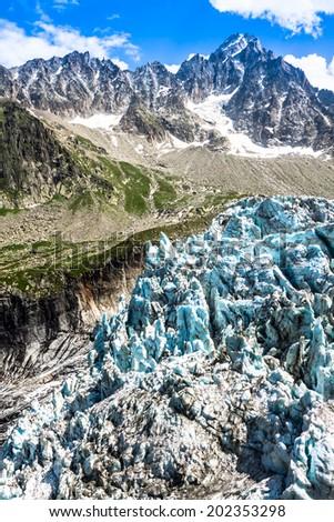Argentiere Glacier view, Chamonix, Mont Blanc Massif, Alps, France - stock photo