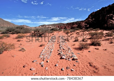 Argentina Andean desert Inca road - stock photo