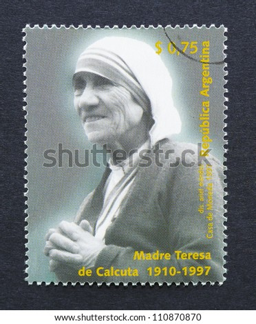 ARGENTINA -Â?Â? CIRCA 1997: a postage stamp printed in Argentina showing an image of mother Teresa, circa 1997. - stock photo