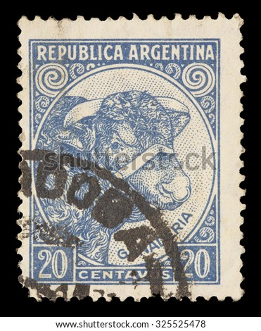 ARGENTINA - CIRCA 1951: A postage stamp printed in Argentina shows Bull and Cattle Breeding, circa 1951 - stock photo