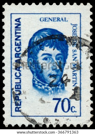 ARGENTINA - CIRCA 1973: a stamp printed by Argentina, shows General Jose de San Martin