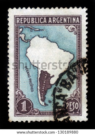 ARGENTINA - CIRCA 1935: A stamp printed in Argentina showing map of Argentina, circa 1935