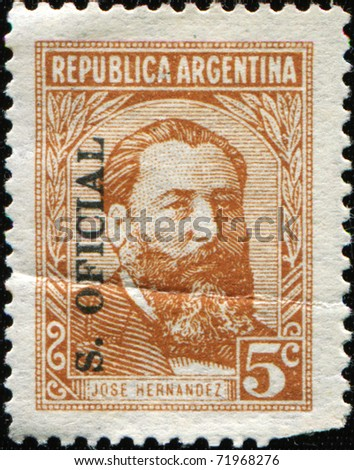 ARGENTINA - CIRCA 1957: A stamp printed in Argentina shows Jose Hernandez was an Argentine journalist, poet, and politician, circa 1957
