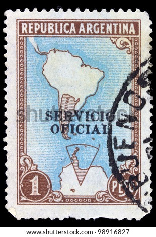 ARGENTINA - CIRCA 1955: A stamp printed in Argentina shows Map of South America, circa 1955
