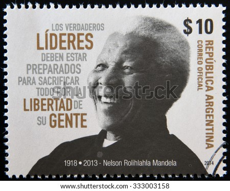 ARGENTINA - CIRCA 1984: A stamp printed in Argentina shows Nelson Mandela, circa 1984 - stock photo