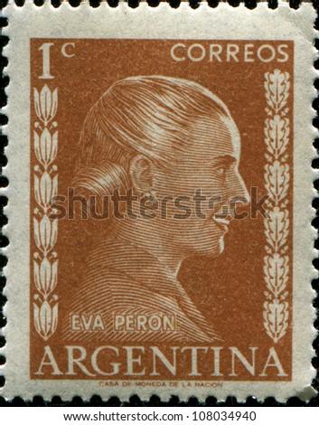 ARGENTINA - CIRCA 1952: A stamp printed in Argentina shows portrait Maria Eva Duarte de Peron (1919-1952), circa 1952 - stock photo