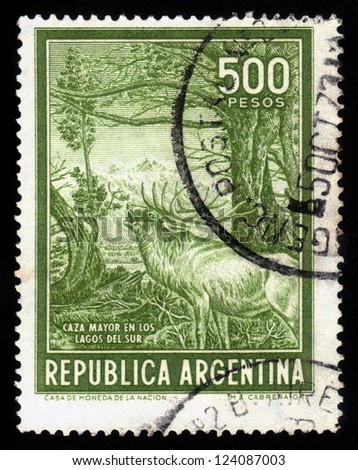 ARGENTINA - CIRCA 1970: A stamp printed in Argentina shows roaring woodland deer in a time of estrus, circa 1970