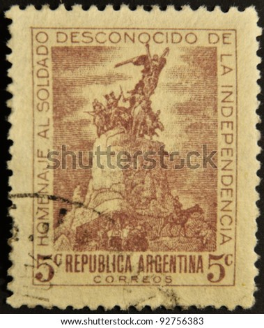 ARGENTINA - CIRCA 1920: A stamp printed in Argentina tribute to the unknown soldier of independence, circa 1920