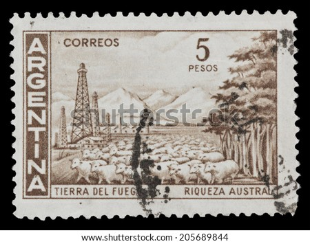 ARGENTINA - CIRCA 1961: A stamp printed in the Argentina features general view of Tierra del Fuego - Argentine province, an island, separated from mainland by the Magellan Straits, circa 1961