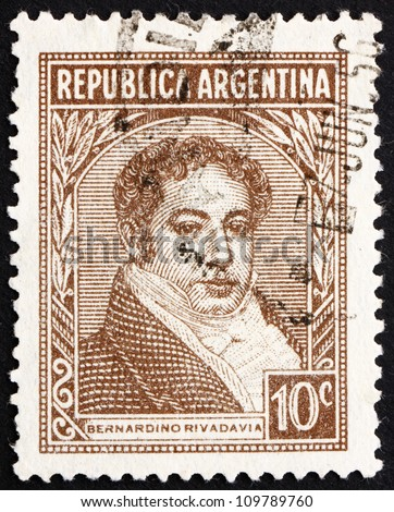ARGENTINA - CIRCA 1942: a stamp printed in the Argentina shows Bernardino Rivadavia, The First President of Argentina, 1826 - 1827, circa 1942