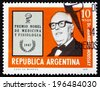 ARGENTINA - CIRCA 1976: a stamp printed in the Argentina shows Dr. Bernardo Houssay, Argentine Nobel Prize Winner for Medicine and Physiology, 1947, circa 1976 - stock photo