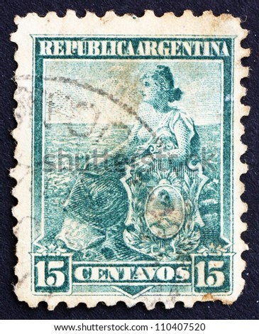 ARGENTINA - CIRCA 1901: a stamp printed in the Argentina shows Liberty Seated, Allegory, circa 1901