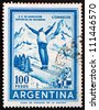ARGENTINA - CIRCA 1961: a stamp printed in the Argentina shows Ski Jumper, circa 1961 - stock photo