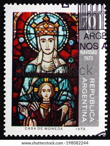 ARGENTINA - CIRCA 1973: a stamp printed in the Argentina shows Virgin and Child, Window, La Plata Cathedral, Christmas, circa 1973 - stock photo