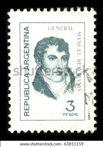 ARGENTINA-CIRCA 1980: A stamp shows image portrait Manuel Jose Joaquin del Corazon de Jesus Belgrano, was an Argentine economist, lawyer, politician, and military leader, circa 1980.