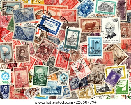 ARGENTINA - CIRCA 1920-2000: Background of the old postage stamps issued in Argentina - stock photo