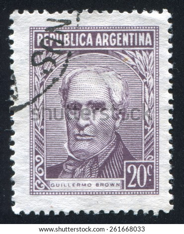 ARGENTINA - CIRCA 1965: stamp printed by Argentina, shows Admiral Guillermo Brown, circa 1965