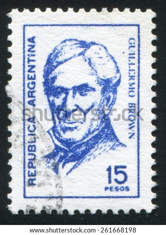 ARGENTINA - CIRCA 1965: stamp printed by Argentina, shows Admiral Guillermo Brown, circa 1965 - stock photo
