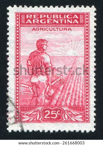 ARGENTINA - CIRCA 1935: stamp printed by Argentina, shows farmer, circa 1935