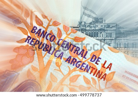 Argentina currency peso banknote