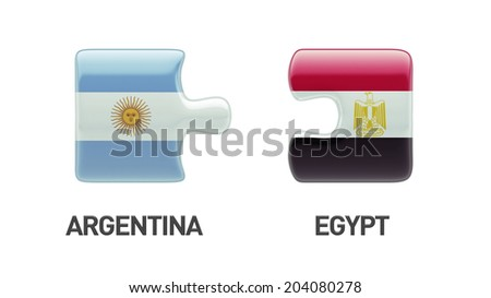Argentina Egypt High Resolution Puzzle Concept - stock photo
