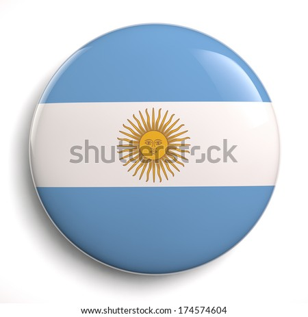 Argentina flag button isolated on white. Clipping path included.