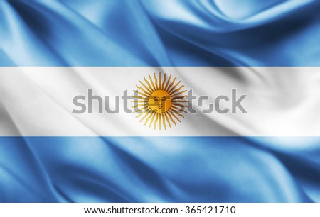 Argentina flag of silk  - stock photo