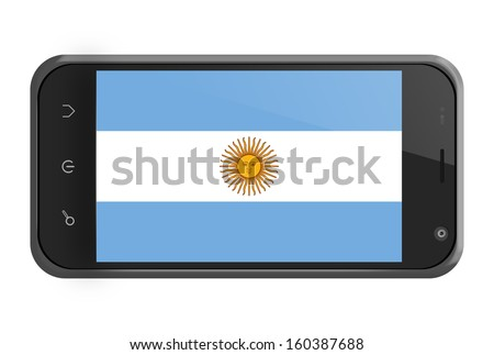 Argentina flag on smartphone screen isolated on white - stock photo