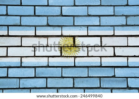 Argentina flag painted on old brick wall texture background - stock photo