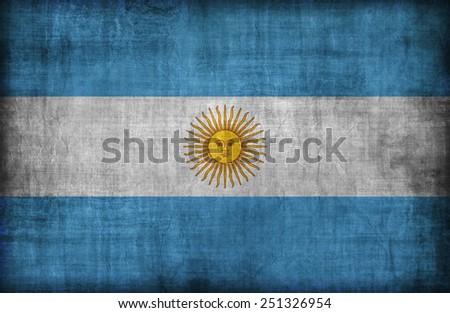 Argentina flag pattern,retro vintage style - stock photo