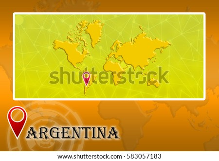 Argentina world map pointer location stock illustration 583057183 argentina in world map with pointer and location gumiabroncs Images