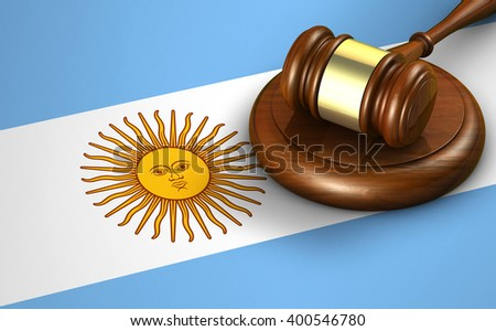 Argentina law, legal system and justice concept with a 3D rendering of a gavel and the Argentine flag on background. - stock photo
