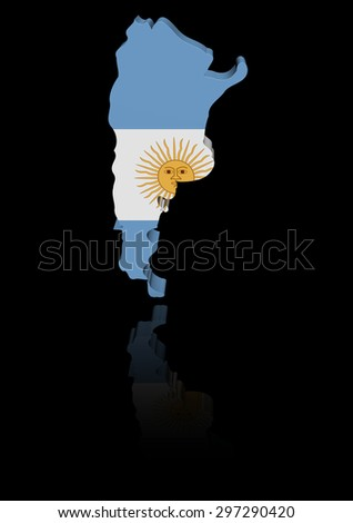Argentina map flag with reflection illustration - stock photo