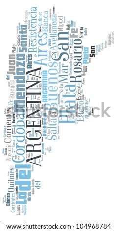 ARGENTINA map words cloud of major cities with a white background - stock photo