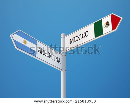 Argentina Mexico High Resolution Sign Flags Concept