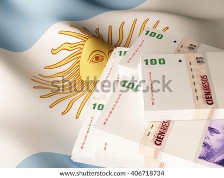 Argentina peso banknote bundles on textile textured Argentina flag. 3d illustration. - stock photo