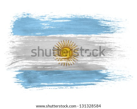 Argentine. Argentinean flag  on white background - stock photo