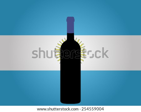 Argentine Flag with a Bottle of Wine - stock photo