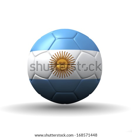 Argentine Republic flag textured on soccer ball , clipping path included