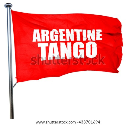 Argentine tango, 3D rendering, a red waving flag - stock photo