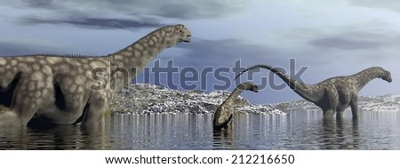 Argentinosaurus dinosaurs family walking in the water by morning light - 3D render - stock photo
