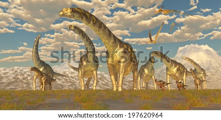 Argentinosaurus Herd Migration - Hypsilophodon and Pteranodon dinosaurs accompany a herd of Argentinosaurus on their yearly migration to warmer temperatures. - stock photo