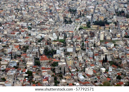 Argos in Greece - aerial view of a mediterranean city photographed from the Castle of Argos - stock photo