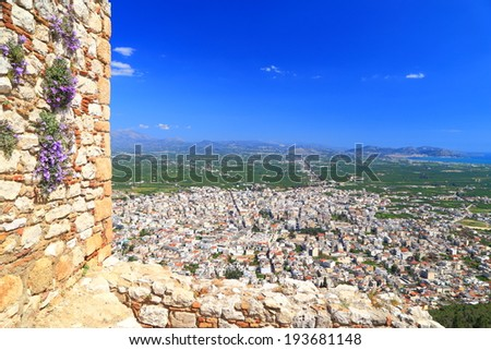 Argos town seen from Kastro Larissa, a Venetian fortress built on top of the old Greek citadel, Greece - stock photo