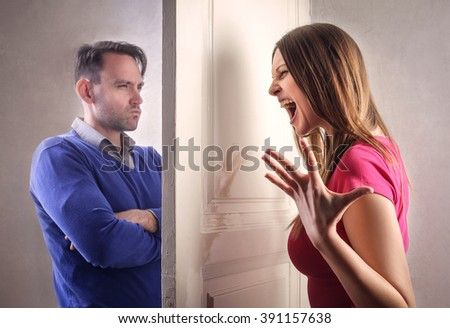 Arguing couple - stock photo
