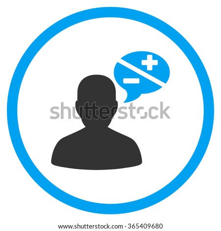 Arguments glyph icon. Style is bicolor flat circled symbol, blue and gray colors, rounded angles, white background. - stock photo