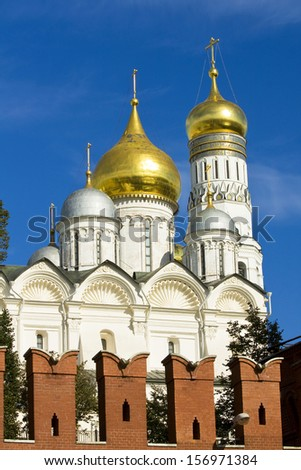 Arhangelskiy cathedral and tower bell of Ivan the Great inside Kremlin fortress in Moscow.