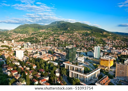 Arial architecture Sarajevo cityscape from bigest building on Balkan, sunset shot - stock photo