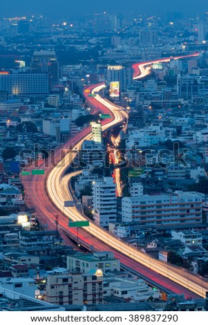 Arial view city expressway long exposure during Twilight - stock photo