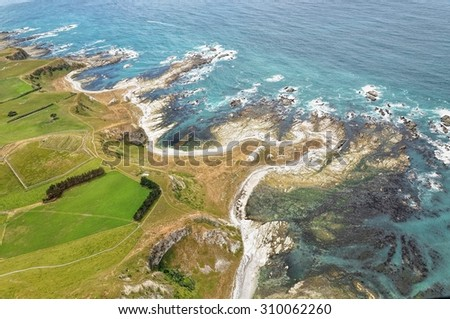 Arial view of Kaikoura, New Zealand. Taken from helicopter view. - stock photo